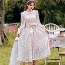 公主風娃娃領花紋蕾絲長袖小禮服洋裝[99...