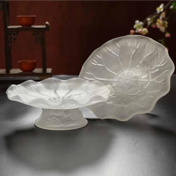 家居室內水果盤 佛堂供佛觀音貢盤 仿琉璃白色蓮花供盤果碟78英寸 璐璐生活館