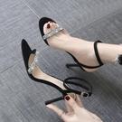 高跟鞋女細跟2021年春新款百搭一字帶氣質水鑚仙女涼鞋夏性感網紅 果果輕時尚