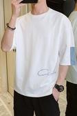 短袖t恤男夏季套裝新款寬鬆五分中袖體恤純棉上衣服ins半袖男 雙11提前購
