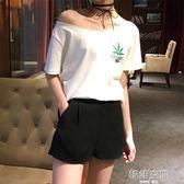 韓版ins短袖露肩T恤小清新一字領漏肩寬鬆上衣女夏甜美潮
