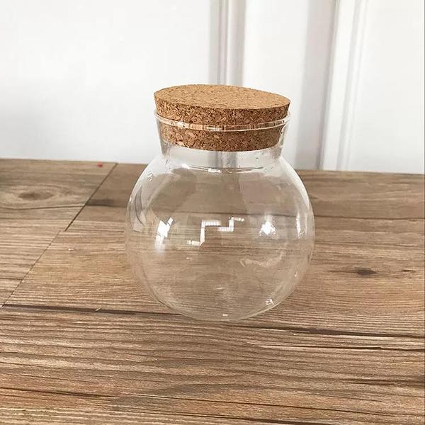 永生花玻璃罩子,LED燈罩吊球微景觀球,創意玻璃鐵藝花瓶,植物球形瓶,不帶燈款
