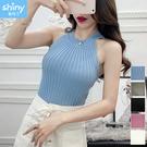 【V2327】shiny藍格子-嬌豔美人.削肩掛脖露肩無袖背心上衣