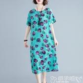 雙11棉麻洋裝棉麻連身裙女中長款2020新款夏裝流行中年媽媽顯瘦遮肚子亞麻裙子