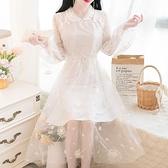 早春季韓版小香風改良版網紗旗袍亮片仙女娃娃領連身裙 夏季上新
