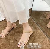 網紅搭配裙子的涼鞋女新款潮仙女風超火百搭時尚夏羅馬鞋聖誕交換禮物