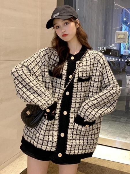 外套秋裝年新款女裝韓版寬鬆小香風撞色圓領格子長袖毛衣上衣  魔法鞋櫃