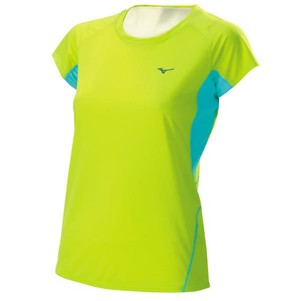 Mizuno  女路跑短袖T恤-綠 J2TA620336