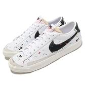 Nike 休閒鞋 Blazer Low 77 白 黑 潑漆設計 男鞋 復古奶油色中底 運動鞋 皮革 【ACS】 DJ1517-100