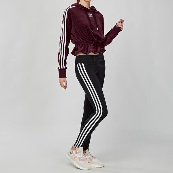 Adidas Originals 女款 酒紅色 三葉草 棉質 連帽 長袖 上衣 FN2793