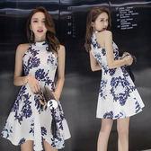 旗袍洋裝   2018夏季新款性感修身顯瘦氣質掛脖印花無袖  AB1439 【3C環球數位館】