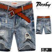 『潮段班』【SD033297】刷白刷破英文字母底布設計後口袋抓破牛仔短褲 五分褲 膝上褲