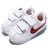 Nike 復古慢跑鞋 Cortez Basic SL TDV 白 藍 紅 阿甘鞋 OG 魔鬼氈 皮革 童鞋 小童鞋【PUMP306】 904769-103