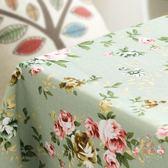桌布 - 田園玫瑰花棉麻餐布