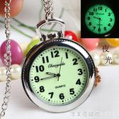 大錶盤老人夜光清晰大數字男女懷錶鑰匙扣掛錶學生考試用石英手錶 漾美眉韓衣