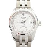 TUDOR GLAMOUR DATE系列銀色飾紋錶盤不銹鋼腕錶 51000 【二手名牌BRAND OFF】