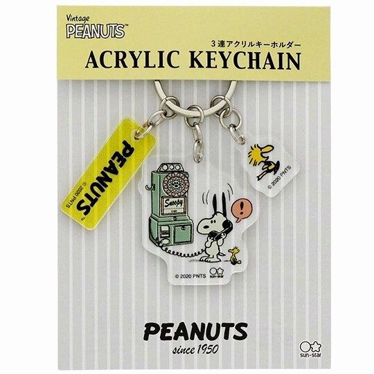 小禮堂 史努比 日製 造型壓克力鑰匙圈 透明鑰匙圈 壓克力吊飾 (綠黃 電話) 4901770-63891