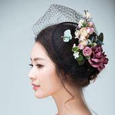 森系韓式新娘黑色複古網紗禮帽 頭飾 頭花 發飾 熱銷禮服配飾影樓拍照髮飾