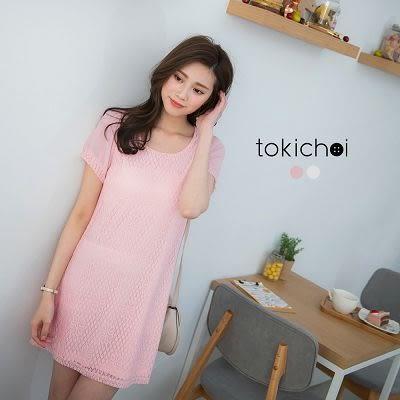 東京著衣-透膚袖拼接蕾絲洋裝-XS.S.M(6010946)