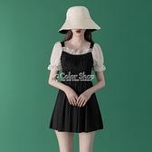 2021新款仙女范游泳衣女裝小香風泡溫泉韓國ins遮肚顯瘦保守學生 快速出貨