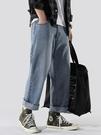 寬管褲 秋季學生闊腿牛仔褲直筒寬鬆百搭工裝老爹垂墜褲子男韓版潮流 果寶時尚
