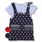 白色LOGO圖T+點點吊帶背心兩件組套裝 /RQ POLO /中大女童春夏款[7091]