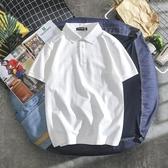 polo衫 男士短袖t恤韓版潮流翻領POLO衫夏季港風純白情侶有領 晶彩生活