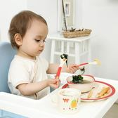 竹纖維卡通創意兒童餐盤組合套裝分格學生早餐碟家用分隔寶寶餐具 小巨蛋之家
