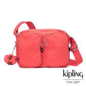 Kipling螢光澄素面雙層側背包