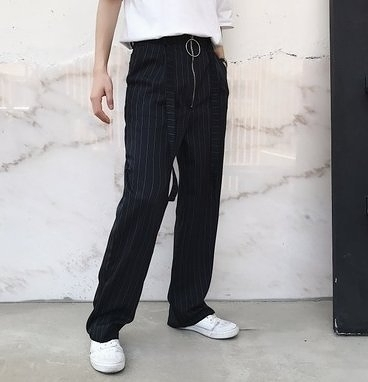 FINDSENSE H1 2018 夏季 新款 高端 文藝 條紋 飄帶設計 長褲