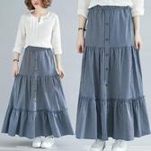 胖妹妹洋氣減齡mm寬鬆條紋中長款百搭大碼半身裙女2020春季新款潮 快速出貨