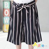 童裝 短褲 簡約直紋綁帶短褲(深藍)