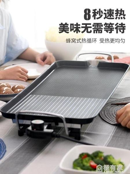 燒烤爐家用烤肉盤電烤盤鐵板燒盤無煙電燒烤爐小燒烤架烤肉機用具 ATF 極有家 電壓:220v
