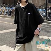 圓領T恤 超火cec短袖t恤男體桖潮流五分袖韓版寬鬆半截袖學生情侶衣服【風之海】