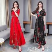 雪紡洋裝 2020年夏季新款氣質媽媽收腰顯瘦洋氣減齡輕熟風印花雪紡連身裙女 小宅女