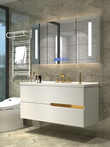浴櫃 簡約現代浴室櫃組合輕奢衛生間洗漱台洗臉池洗手面盆衛浴廁所吊櫃【八折搶購】