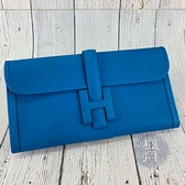 BRAND楓月 HERMES 愛馬仕 A刻 藍色 H造型皮釦 POCHETTE JIGE ELAN 29 手拿包