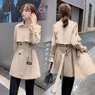 風衣外套 秋冬寬松雙排扣風衣女韓版純色氣質大翻領短款外套上衣潮D353A快時尚