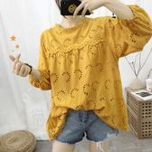 立領花邊簍空波浪下襬蕾絲衫 CC KOREA ~ Q17680