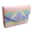 LV 限量款-粉色字紋帆布三折式彩虹短夾(九成新)