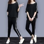 夏季女士大碼短袖休閒運動衣服套裝女夏潮新款兩件套裝 DN11410【大尺碼女王】
