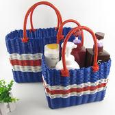 編織籃塑料編織菜籃子寵物籃收納籃買菜籃子手提籃購物籃游泳洗浴籃霓裳細軟