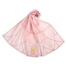 Sybilla幾何線條抗UV純綿長絲巾/薄圍巾(粉紅色)989401-C
