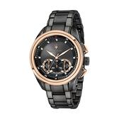 【Maserati 瑪莎拉蒂】TRAGUARDO經典三眼霸氣鋼帶腕錶-黑金款/R8873612016/台灣總代理公司貨享兩年保固