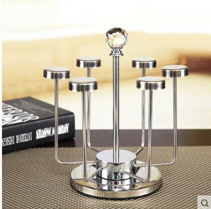 不銹鋼水杯架 瀝水杯架 時尚茶杯架 6頭可旋轉杯架 晾乾架