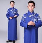 (交換禮物)相聲表演服 時尚長衫男成人大褂圖案青年表演出服印花古裝