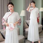 中大尺碼 棉麻洋裝夏新款中式復古歐根紗刺繡改良短款禪意改良式旗袍女套裝 Ic418『男人範』