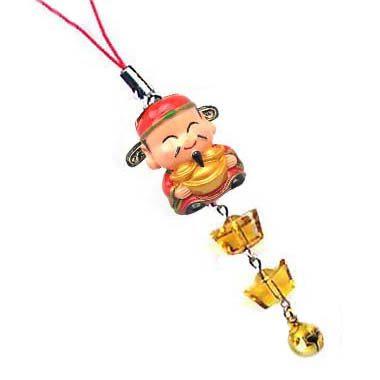 手捧元寶財神爺與黃水晶元寶吊飾
