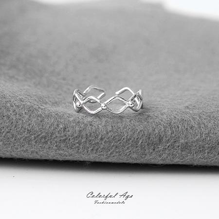 925純銀戒指 精緻鏤空菱形活動式線戒 微調尺寸【NPC3】抗過敏材質