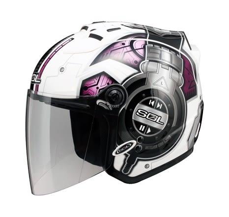 [東門城] SOL SL-27S DJ 白紫 3/4罩安全帽